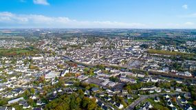 Aerial photography of Pontivy city in the Morbihan. Aerial view of Pontivy city in the Morbihan, France Royalty Free Stock Image
