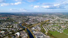 Aerial photography of Pontivy in the Morbihan. Aerial view of Pontivy city in the Morbihan, France Royalty Free Stock Photography