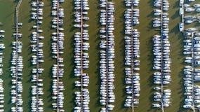 Aerial photo of boats in Pornic Noeveillard marina Royalty Free Stock Photos