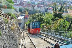 Aerial Photography of Red and Black Train With Village View Royalty Free Stock Images