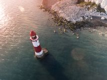 Aerial Photography of Red and White Lighthouse during Daytime Royalty Free Stock Photo