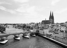 Aerial photography of Regensburg city, Germany. Danube river, ar royalty free stock image