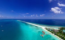 Aerial Photography of Resort Beside Ocean royalty free stock photography