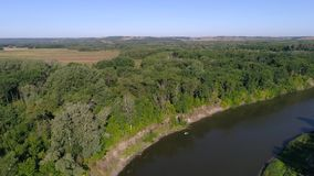 Aerial photography of the river With a beautiful landscape forest and river nature of Russia. Aerial photography of the river With a beautiful landscape the stock video footage