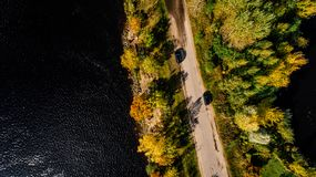 Aerial Photography of Road Between Trees on Body of Water Royalty Free Stock Image