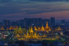 Sunset at the Royal funeral pyre for King Bhumibol Adulyadej. Aerial photography at the Royal funeral pyre for King Bhumibol Adulyadej in sunset time. the Royal stock photos