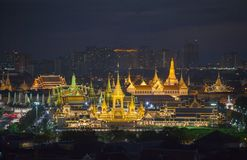 The Royal funeral pyre for King Bhumibol Adulyadej in twiligth. Aerial photography at the Royal funeral pyre for King Bhumibol Adulyadej in twilight. the Royal royalty free stock photography