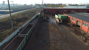 Scrap Metal Recycling, Processing Plant with Junk Metal and Train Car. stock footage
