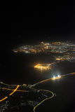 Aerial photography of Sea bridge at night Royalty Free Stock Photo