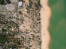 Aerial Photography of Seashore With Coconut Trees Stock Image