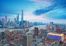 Aerial photography at Shanghai bund Skyline of dusk Stock Photography