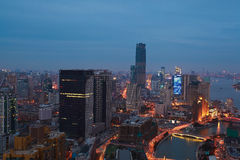 Aerial photography at Shanghai bund Skyline of night scene Royalty Free Stock Photos