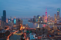 Aerial photography at Shanghai bund Skyline of night scene Royalty Free Stock Photography