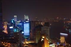 Aerial photography at Shanghai bund Skyline of night scene Stock Photos