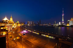 Aerial photography at Shanghai bund Skyline of night scene. Aerial photography bird view at Shanghai bund Skyline of night scene Royalty Free Stock Image