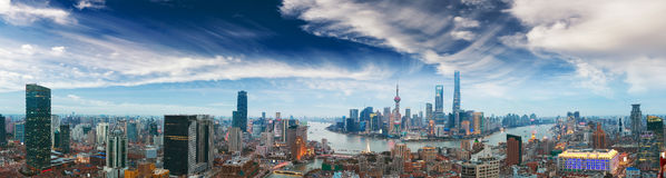 Aerial photography at Shanghai bund Skyline of panorama. Aerial photography bird view at Shanghai bund Skyline of panorama of twilight Royalty Free Stock Photos