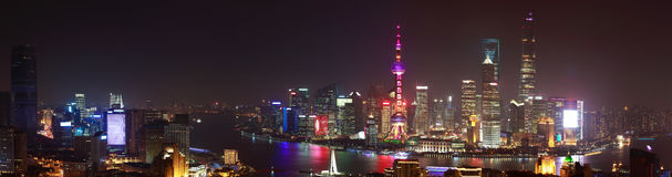 Aerial photography at Shanghai bund Skyline of panorama night sc. Aerial photography bird view at Shanghai bund Skyline of panorama night scene Royalty Free Stock Photo