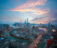 Aerial photography at Shanghai bund Skyline of Sunset glow Stock Images