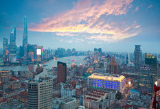 Aerial photography at Shanghai bund Skyline of Sunset glow Royalty Free Stock Image
