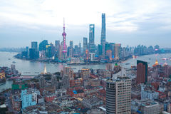 Aerial photography at Shanghai bund Skyline of twilight. Aerial photography bird view at Shanghai bund Skyline stock photos