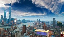 Aerial photography at Shanghai bund Skyline of twilight Stock Photo