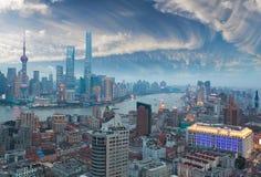 Aerial photography at Shanghai bund Skyline of twilight Royalty Free Stock Photography