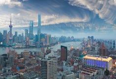 Aerial photography at Shanghai bund Skyline of twilight Stock Image