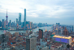 Aerial photography at Shanghai bund Skyline of twilight Stock Photos