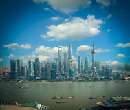 Aerial photography Shanghai skyline Royalty Free Stock Photos