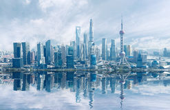 Aerial photography Shanghai skyline Royalty Free Stock Image