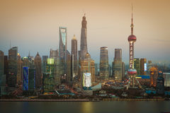 Aerial photography Shanghai skyline at night Royalty Free Stock Photography