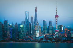 Aerial photography Shanghai skyline at night Stock Photo