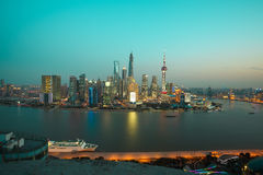 Aerial photography Shanghai skyline at night Stock Images