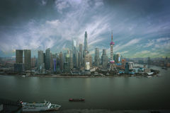 Aerial photography Shanghai skyline at sunset Stock Images
