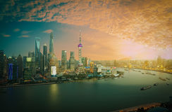 Aerial photography Shanghai skyline at sunset Royalty Free Stock Image