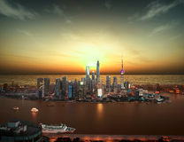 Aerial photography Shanghai skyline at sunset Stock Image