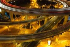 Aerial photography at Shanghai viaduct overpass bridge of night Stock Photo