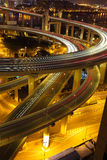 Aerial photography at Shanghai viaduct overpass bridge of night Royalty Free Stock Photography