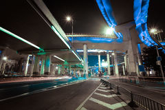 Aerial photography at Shanghai viaduct overpass bridge of night Stock Images