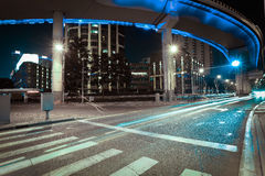 Aerial photography at Shanghai viaduct overpass bridge of night royalty free stock photo