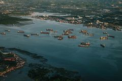 Aerial Photography of Ships on Body of Water Royalty Free Stock Images