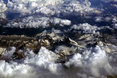 Aerial Photography Snow-covered Mountains stock image