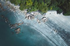Aerial Photography of Stones on Seashore stock photo