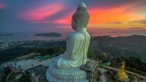 Aerial photography sweet sunset at Phuket`s big Buddha Stock Photos