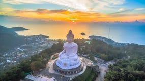 Aerial photography sweet sunset at Phuket`s big Buddha Stock Images