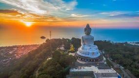 Aerial photography sweet sunset at Phuket`s big Buddha Royalty Free Stock Image
