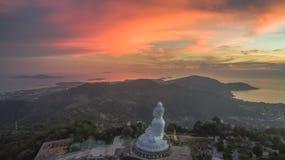 Aerial photography sweet sunset at Phuket`s big Buddha Royalty Free Stock Photo