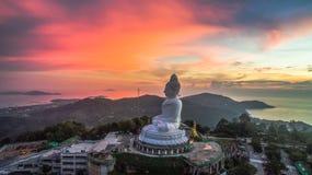 Aerial photography sweet sunset at Phuket`s big Buddha Stock Photo