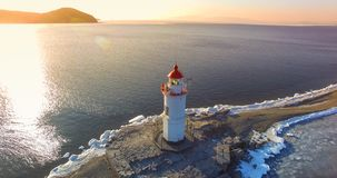 Aerial photography Tokarev lighthouse on the background of the blue sea. Vladivostok, Russia stock image