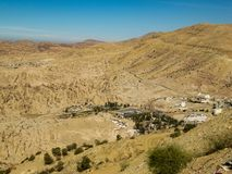 Aerial photography of a city in the desert on a hot day stock photography